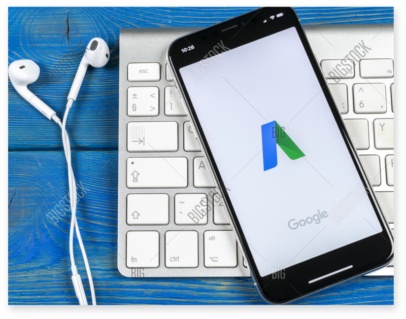 Google Adwords logo on phone