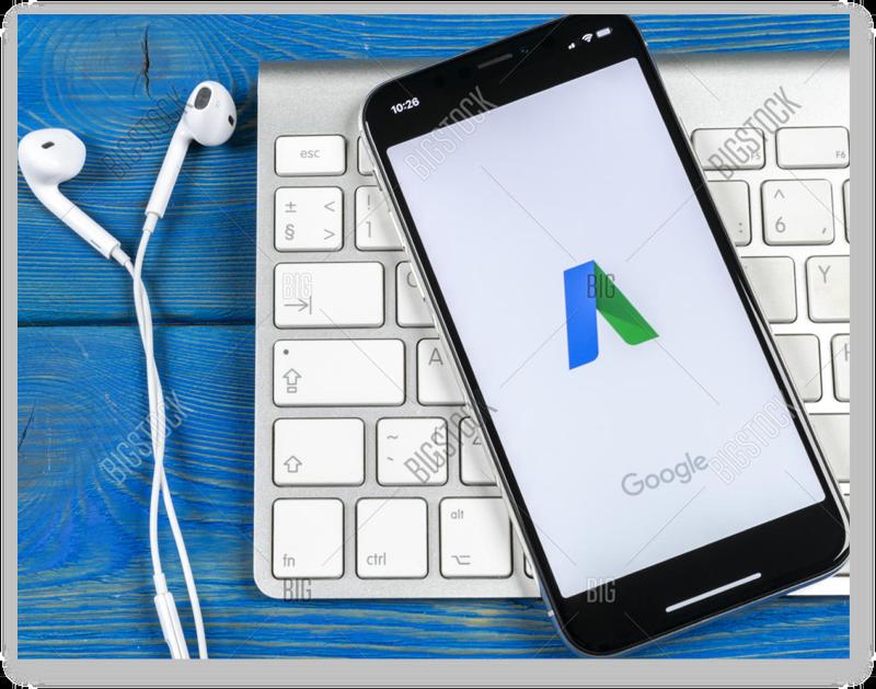 Google Adwords logo on phone