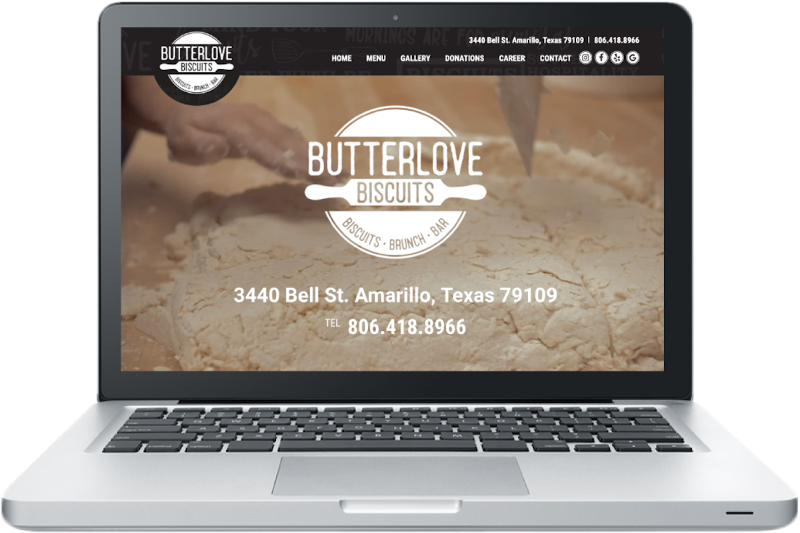 Butterlove Biscuits website mockup displayed on a laptop