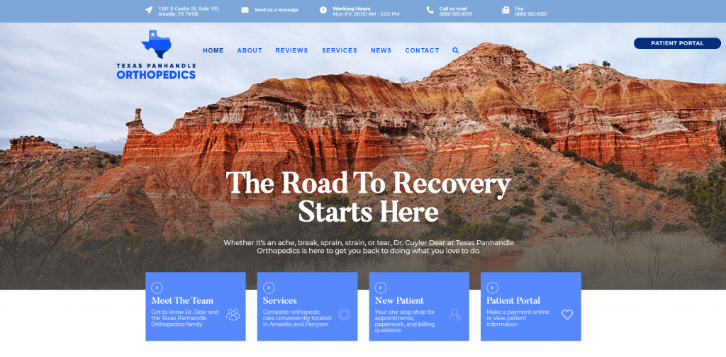 Texas Panhandle Orthopedics website from UCI Digital