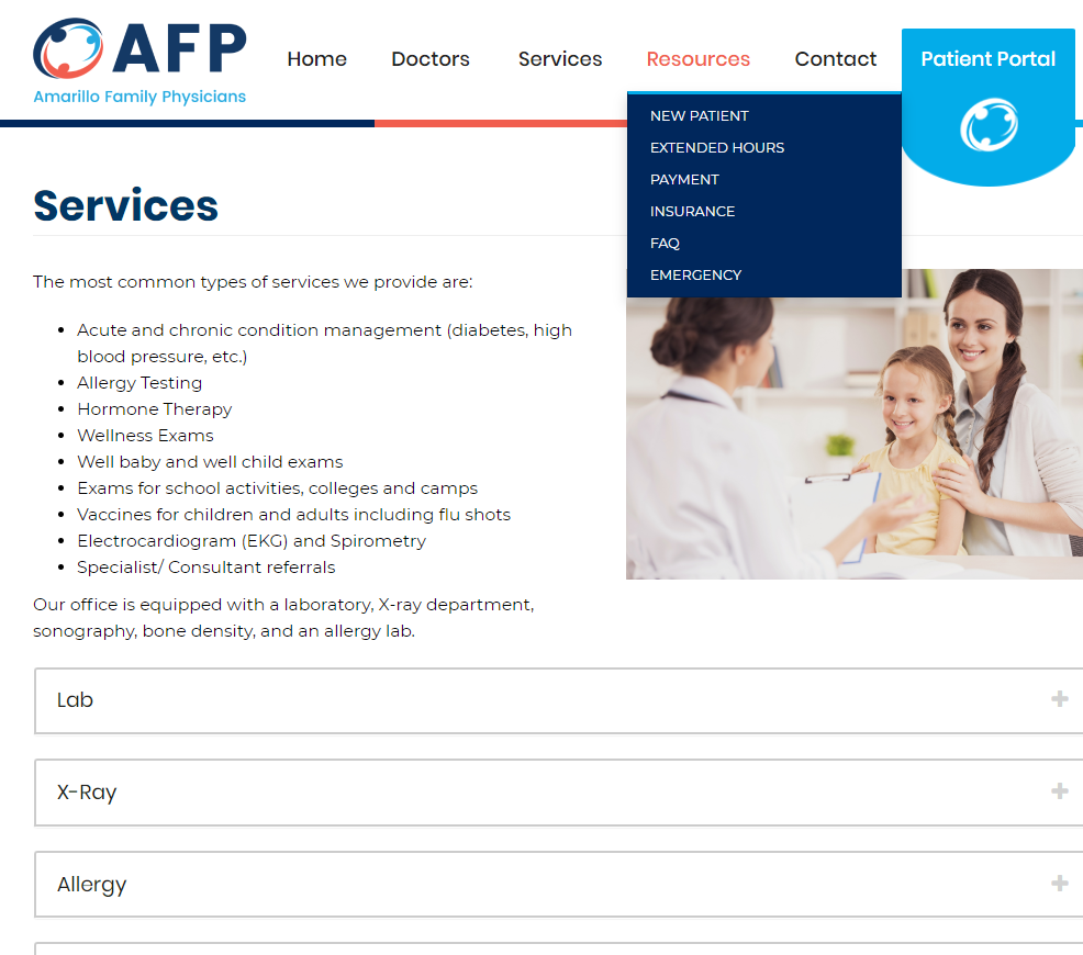 Amarillo Family Physicians website by UCI Digital